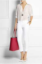 Cropped stretch cotton-blend skinny pants