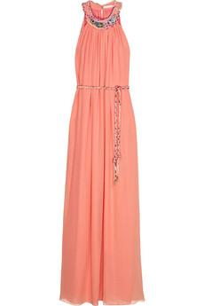 Matthew Williamson Embellished silk-georgette gown