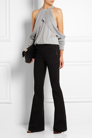 Draped cutout wool sweater