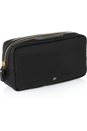 Cables and Chargers patent leather-trimmed pouch