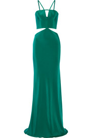 Cutout silk gown