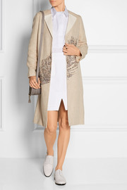 Ange embellished linen and cotton-blend coat
