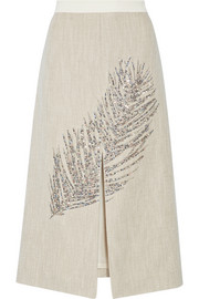 Tory Burch Caprica embellished linen and silk-blend midi skirt