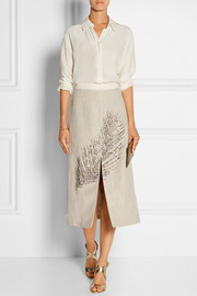 Caprica embellished linen and silk-blend midi skirt