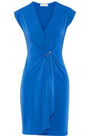Draped wrap-effect stretch-jersey dress
