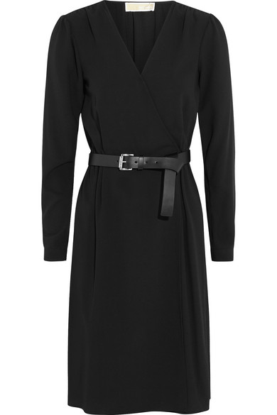 MICHAEL Michael Kors - Belted Wrap-effect Stretch-crepe Dress - Black
