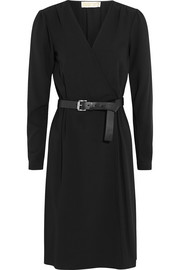 Belted wrap-effect stretch-crepe dress