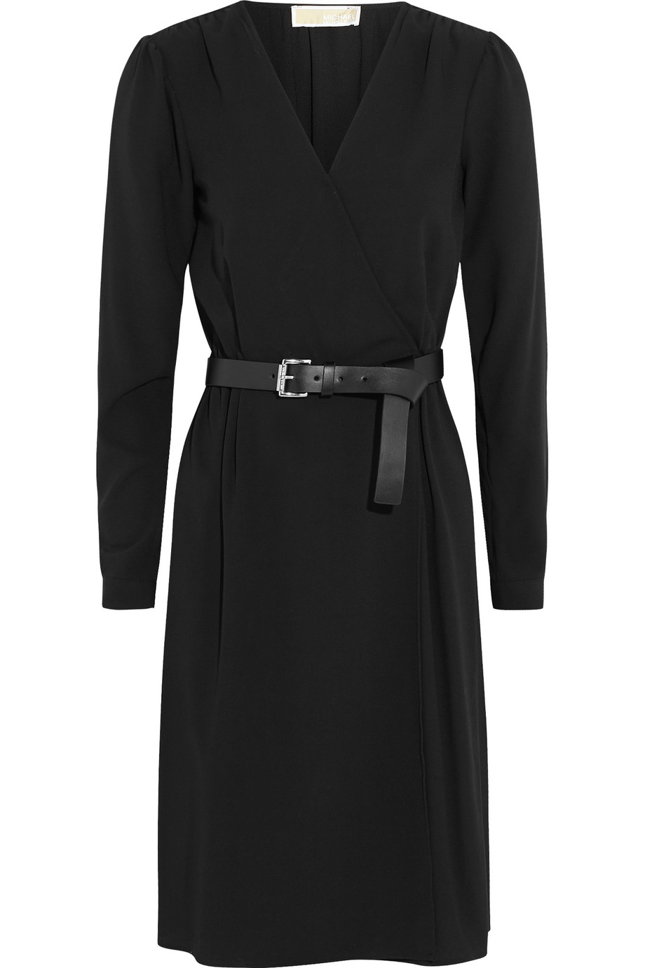 Belted Wrap-Effect Stretch-Crepe Dress, Michael Michael Kors, Black, Women's