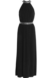 Embellished stretch-satin gown