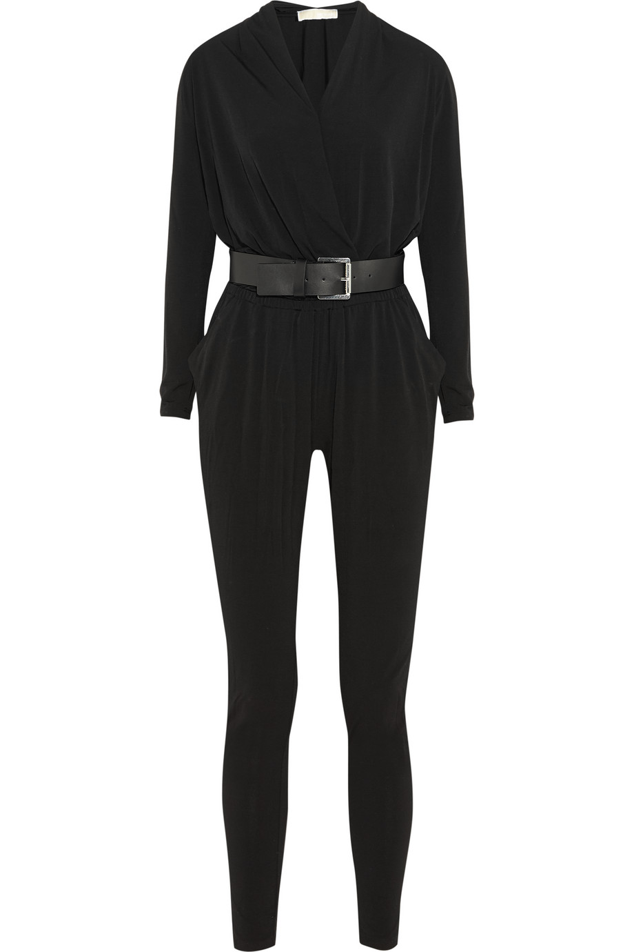 Belted Stretch-Jersey Jumpsuit, Michael Michael Kors, Black, Women's