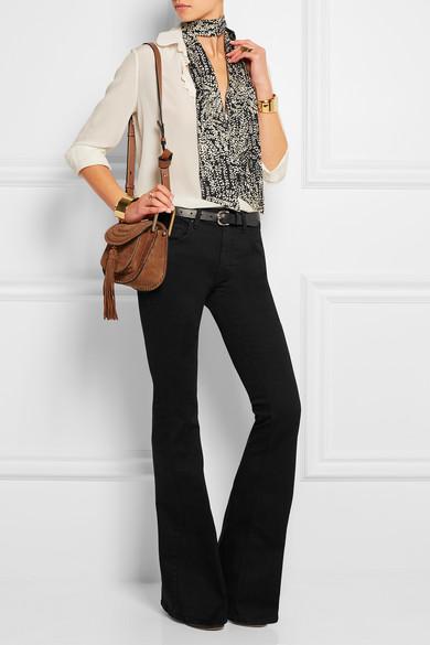 chloe black handbag - Chlo�� | Hudson mini whipstitched suede shoulder bag | NET-A-PORTER.COM