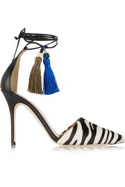 Zebra-print calf hair and leather pumps