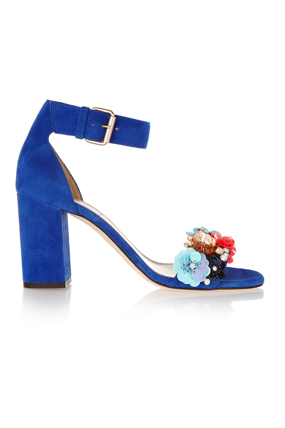 J.Crew Collection Embellished Suede Sandals, Blue, Women's, Size: 5.5