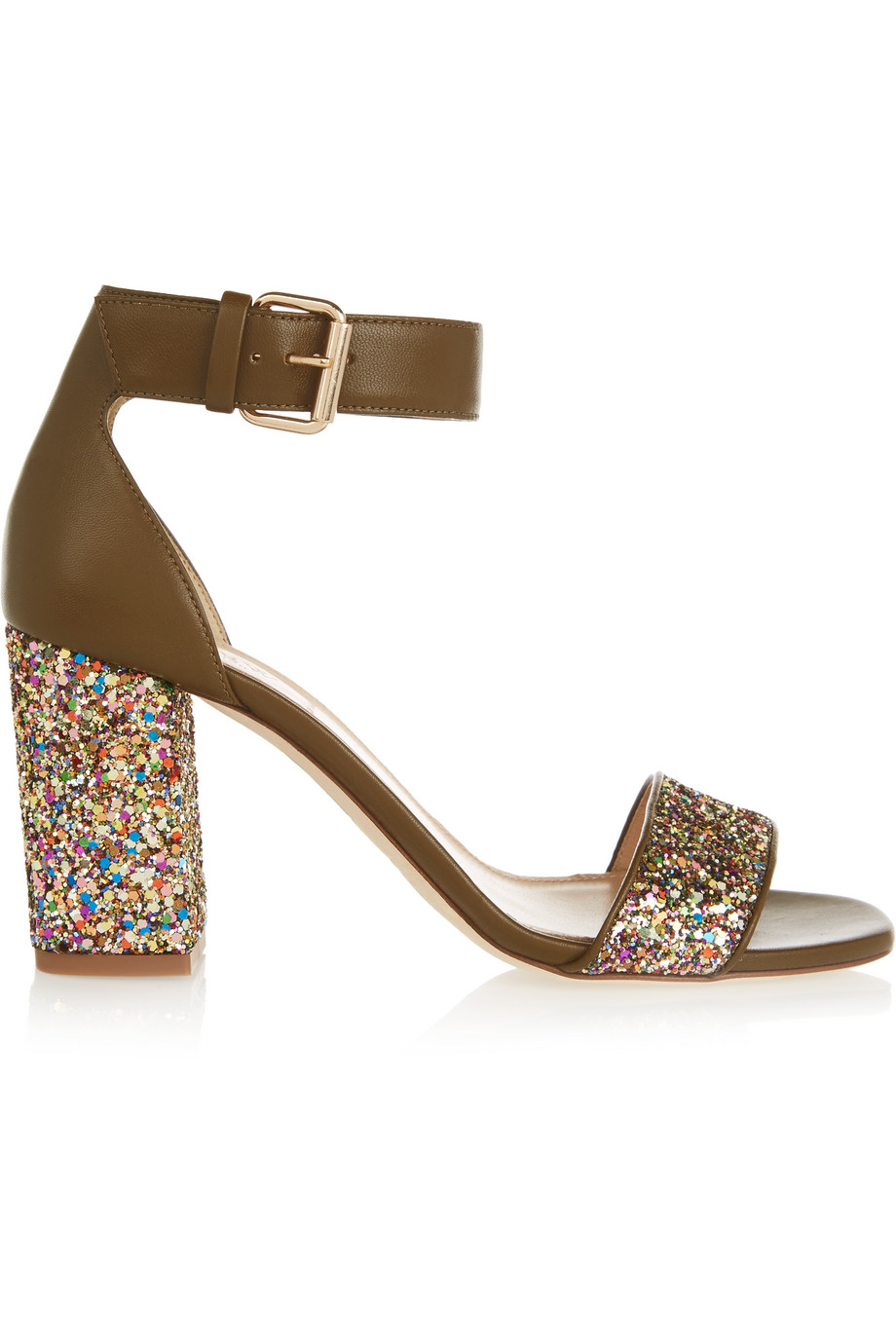 J.Crew Collection Glittered Leather Sandals, Green/Metallic, Women's, Size: 11