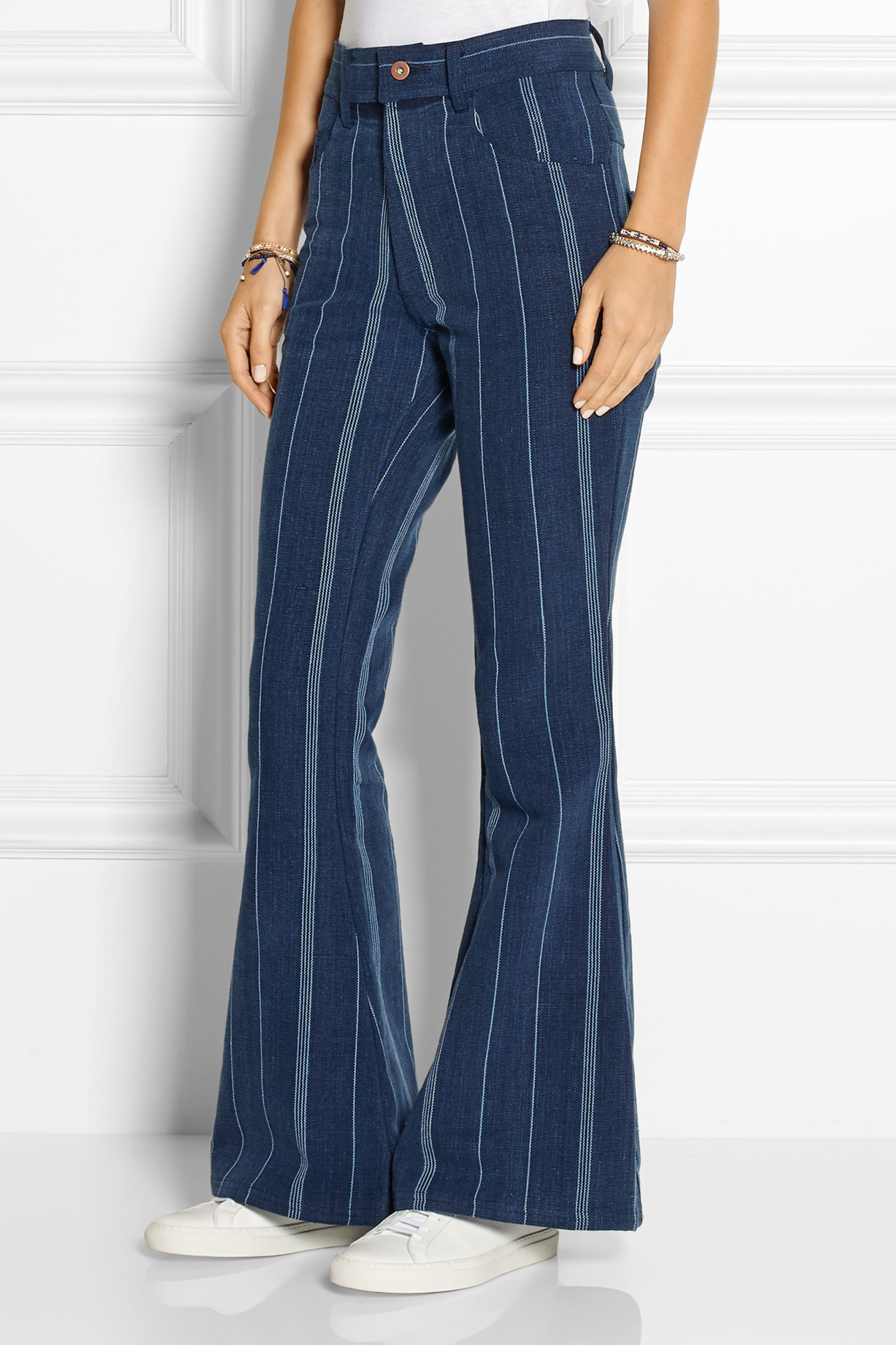 The Elder Statesman Striped high-rise flared jeans