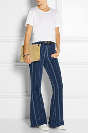 Striped high-rise flared jeans