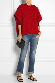 Malta mélange cashmere hooded poncho