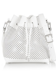 Bucket small perforated leather shoulder bag