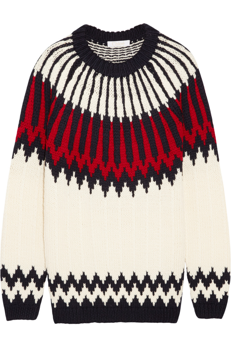 Chloé Snow Capsule Intarsia Wool Sweater, Cream, Women's, Size: L