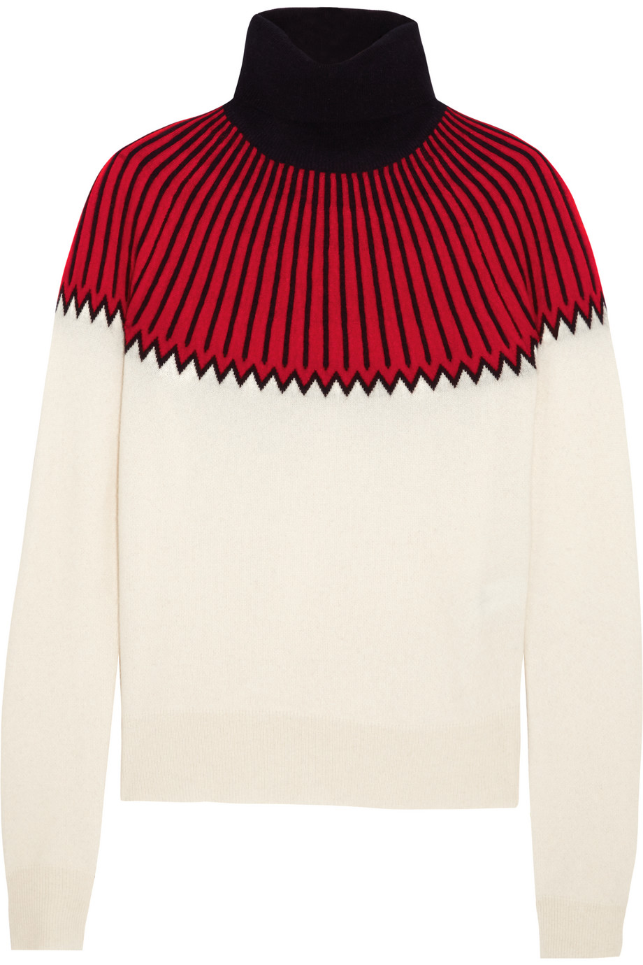 Chloé Snow Capsule Intarsia Cashmere Turtleneck Sweater, Red, Women's, Size: XL