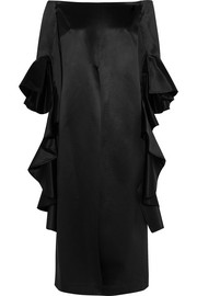 Stanely off-the-shoulder ruffled silk-satin tunic