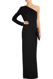 One-shoulder wool maxi dress
