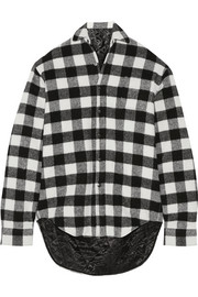 Plaid wool-blend flannel shirt