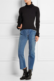 Patchwork high-rise straight-leg jeans