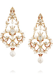 Percossi Papi Gold-plated, topaz and seed pearl earrings