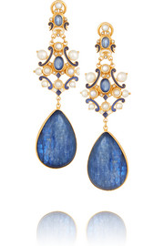 Gold-plated kyanite, sapphire and seed pearl earrings