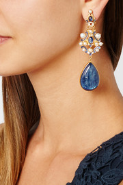 Percossi Papi Gold-plated kyanite, sapphire and seed pearl earrings