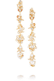 Gold-plated, topaz and seed pearl earrings