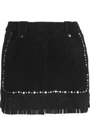 Jacob fringed studded suede mini skirt