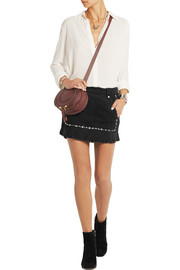 Maje Jacob fringed studded suede mini skirt