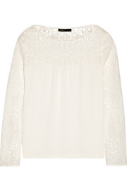 Liz paneled lace and cotton-blend top