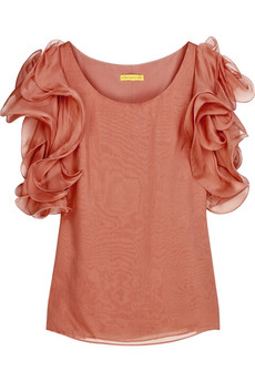 Catherine Malandrino|Silk-chiffon ruffle-sleeved top|NET-A-PORTER.COM