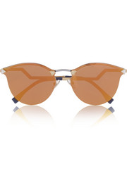 Round-frame crystal-embellished metal mirrored sunglasses
