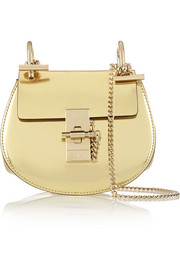 Drew nano metallic leather shoulder bag