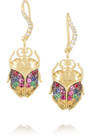 18-karat gold multi-stone beetle earrings