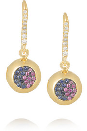 18-karat gold, sapphire and diamond bell earrings