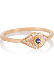 Evil Eye 18-karat rose gold, diamond and sapphire ring