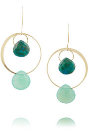 14-karat gold, chrysoprase and chalcedony earrings