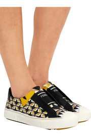Printed leather slip-on sneakers