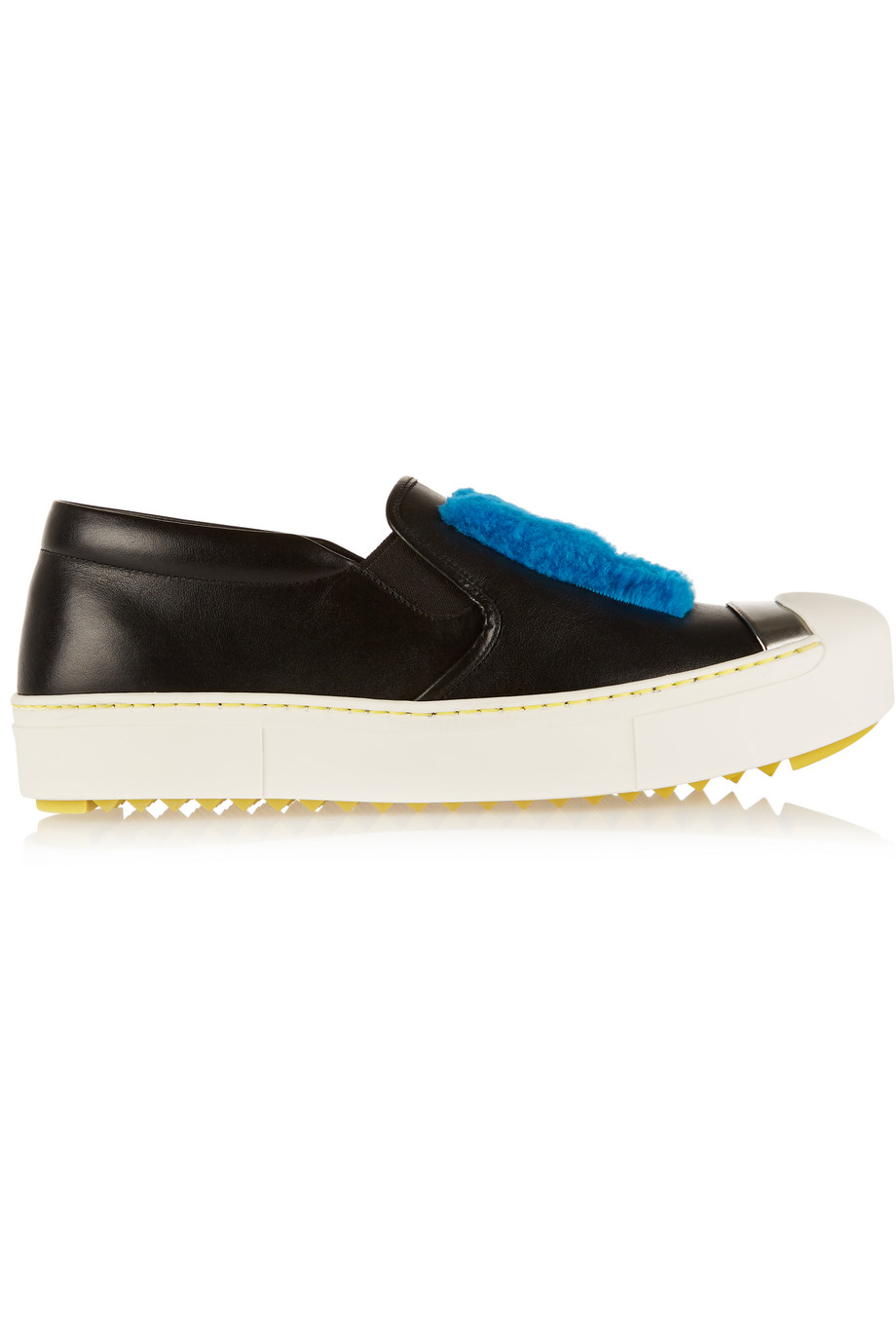 Fendi Faux Shearling-Trimmed Leather Slip-on Sneakers, Black, Women's US Size: 5.5, Size: 36