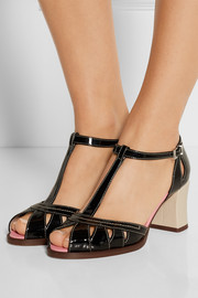 Fendi Embossed matte and patent leather sandals