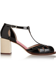 Embossed matte and patent leather sandals