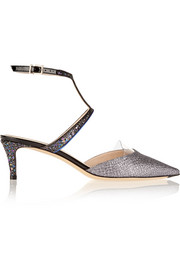 Fendi Glittered leather pumps