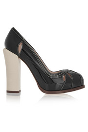 Fendi Cutout patent-leather platform pumps