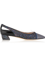 Cutout glittered leather point-toe flats