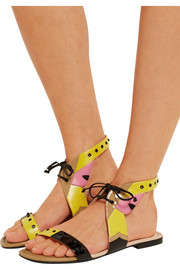 Color-block leather sandals